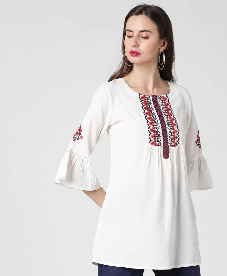 Buy Morpankh Women Embroidered Short Kurti Online at fbb