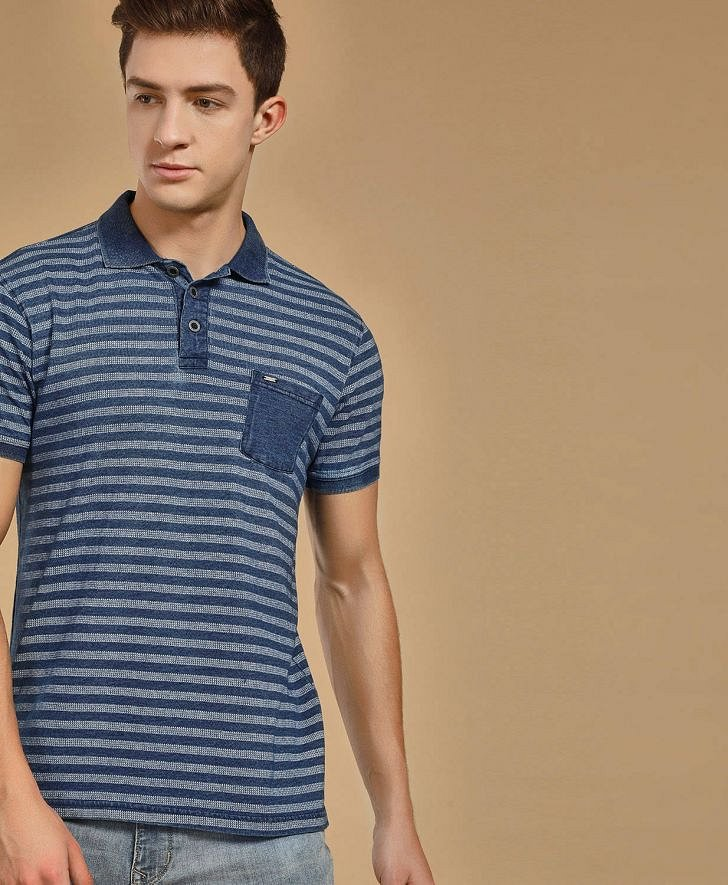 Buy Buffalo Men Indigo Wash Polo T-Shirt Online at fbb