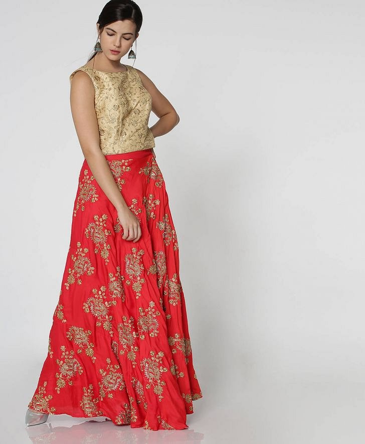 Buy Morpankh Women Embroidered Kalidar Festive Skirt Online at fbb