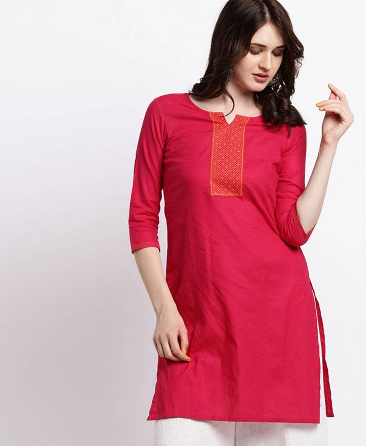 Round Neck Dobby Round Neck Kurta from Srishti for Women