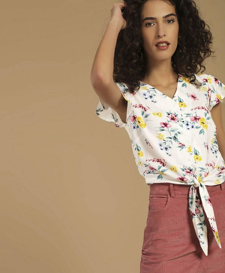 Buy Lee Cooper Originals Women Botanical Print Tie-Up Crop Top Online at fbb